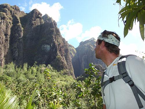 Jason looking at the cliffs