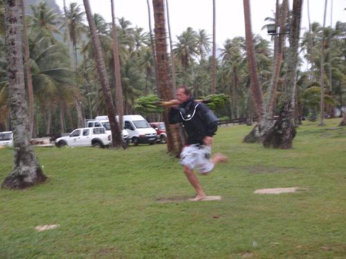Jason runs with the bananas