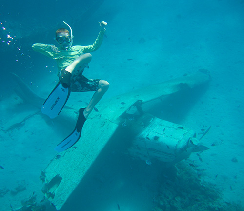 Alex joined us on our snorkel at the sunken plane in Tahiti