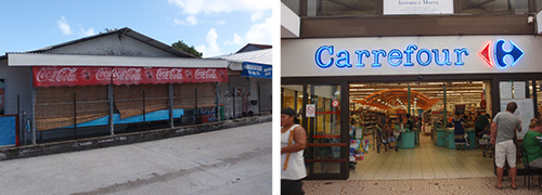 Grocery storefront in far-away place vs. grocery storefront in a provisioning center