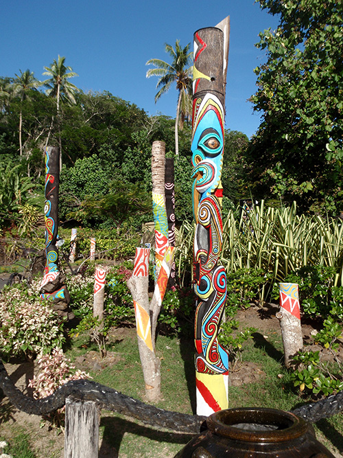 Society Islands tikis in Bora Bora