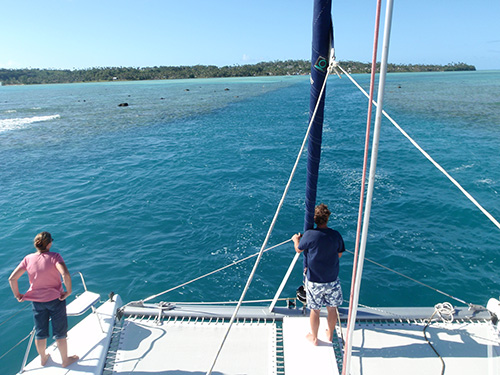 Threading the pass into Aitutaki.