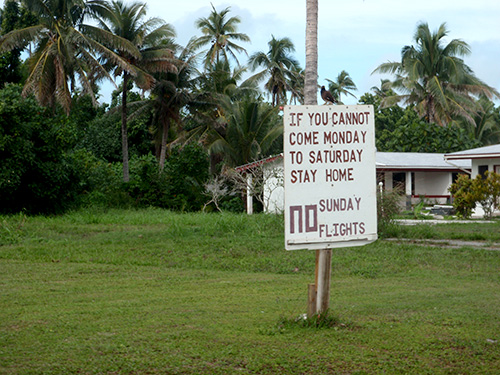 Sign protesting Sunday flights