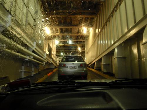 Boarding the ferry in rainy Wellington