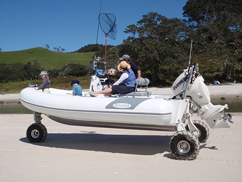 This amphibious vehicle drove right out of the water. Jason's in love.