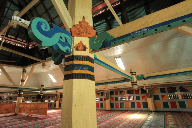 Masjid Agung – Interior of old mosque in Sungai Penuh