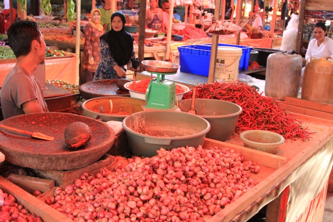 Veggies and chilies in Sungai Penuh Market